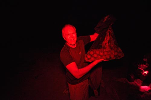 Steve holds a bag of leatherback eggs that must be moved to a nest site away from dangerous ocean tides.